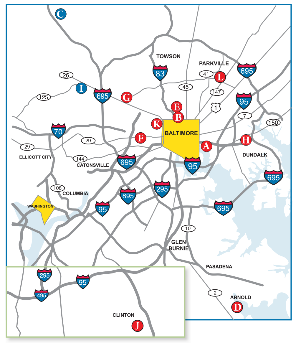 Map of Our Communities. Skilled Nursing in Baltimore